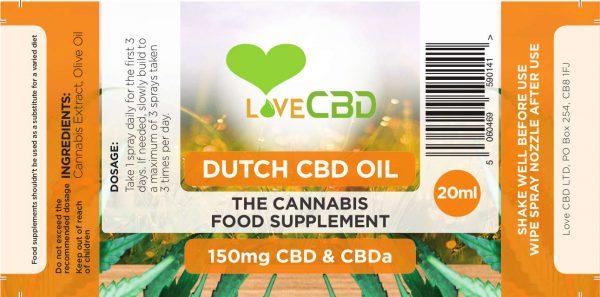 150mg Dutch CBD Oil label