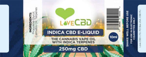 LOVE CBD E-LIQUID: INDICA – 250MG CBD
